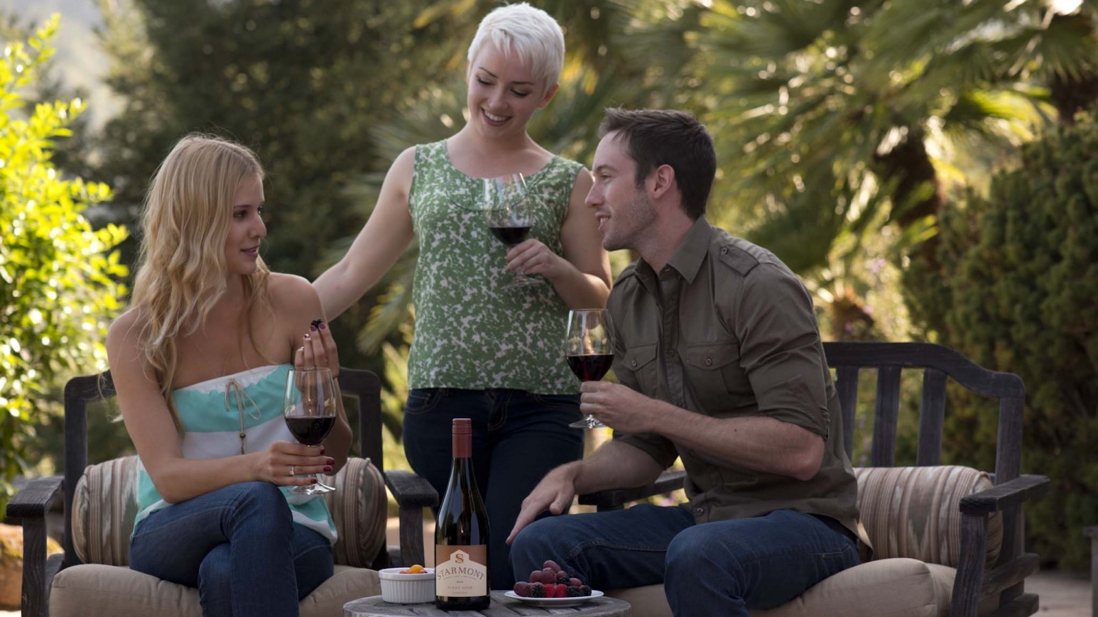 Drinking wine with friends